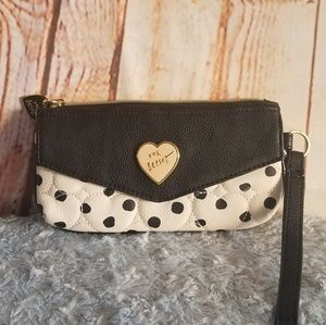 Betsey Johnson Black & White Quilted Wristlet